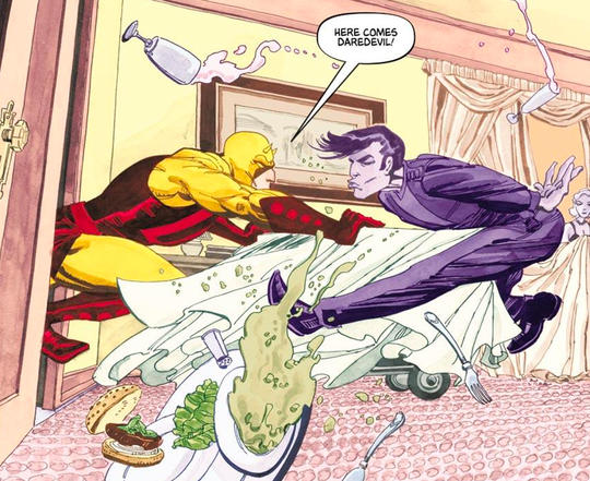Daredevil pushing Purple Man