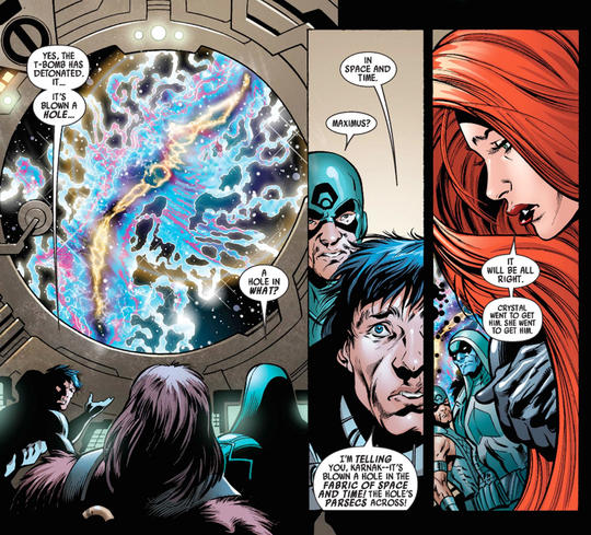 The Inhumans witness a bomb that blows a hole in Space and Time
