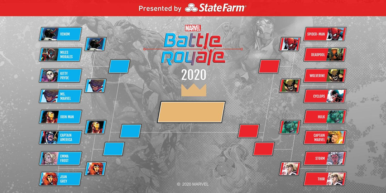 Marvel Battle Royale 2020 Round 1 Official Bracket Tournament Standings