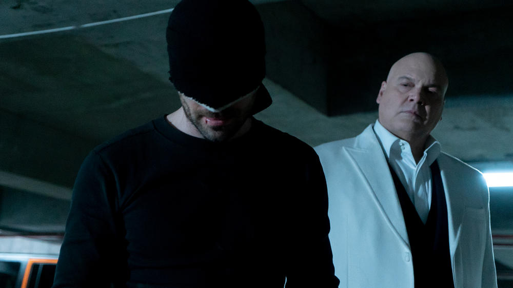 Charlie Cox as Matt Murdock/Daredevil and Vincent D'Onofrio in Marvel's Daredevil Season 3