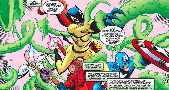 Hellcat (Patsy Walker) and the Avengers.