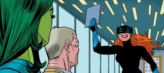 Hellcat (Patsy Walker) holding her contract