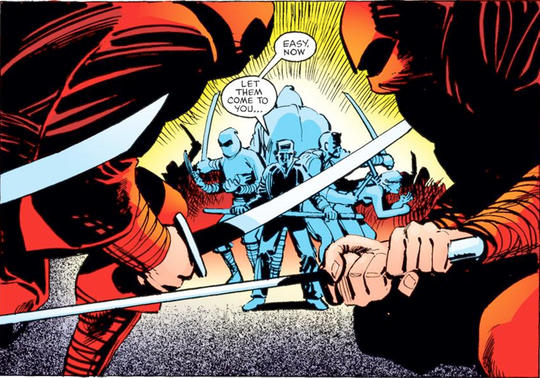 Stick, Daredevil, and members of the Chaste versus the Hand.