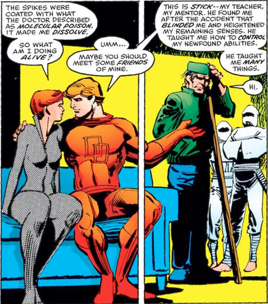 Matt Murdock introduces Black Widow to Stick and a few allies.