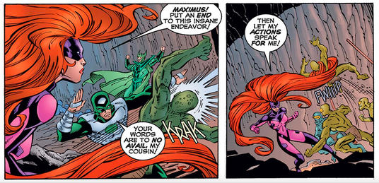 Medusa fighting Maximums with Karnak
