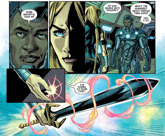 Valkyrie summoning the power of her sword when confronted.