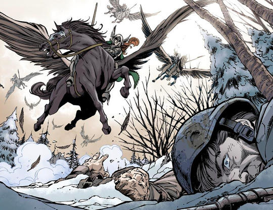 Valkyrie riding her flying horse, Aragorn.