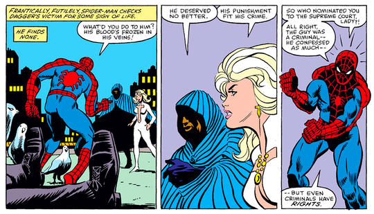 Cloak and Dagger started out as merciless vigilantes when they killed Simon Marshall despite the interference of Spider-Man (Peter Parker).