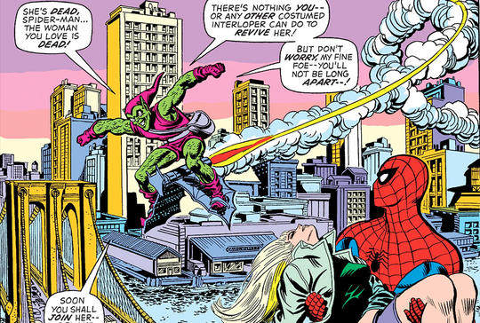 The Green Goblin gloats about Gwen Stacy's death.