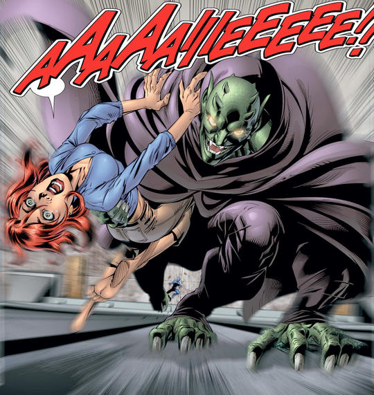 Green Goblin kidnaps Mary Jane to drop her from the George Washington Bridge
