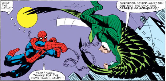 Spider-Man in pursuit of Vulture and fighting