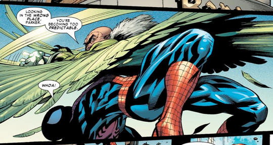 Vulture fighting Spider-Man, his biggest enemy, again.