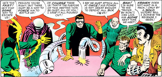 Vulture allied himself with other Spider-Man villains at the behest of Doctor Octopus to form the Sinister Six.