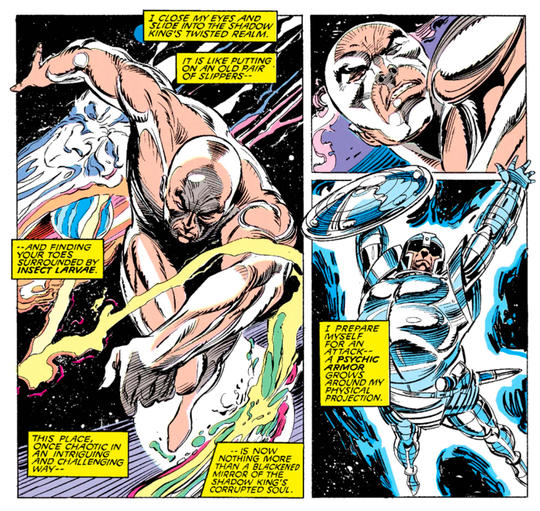 at the hands of Charles Xavier, the Shadow King has existed as a purely ethereal being on the astral plane so his powers are such that he doesn't require a physical form at all to continue his existence.