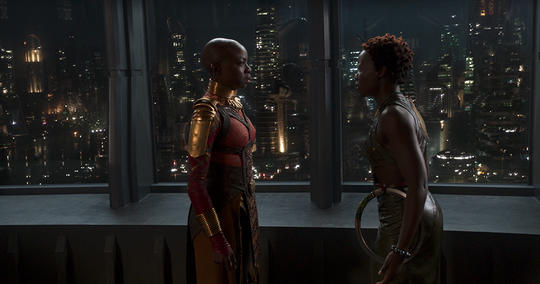 Nakia and Okoye argue about loyalty.