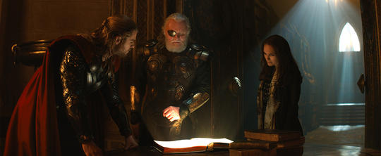 Odin with Thor (Thor Odinson) and Jane Foster