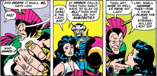 Sif convincing Loki to spare Hogun