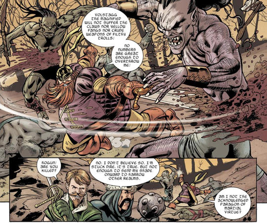 Volstagg, Hogun and Fandral take on a band of Trolls