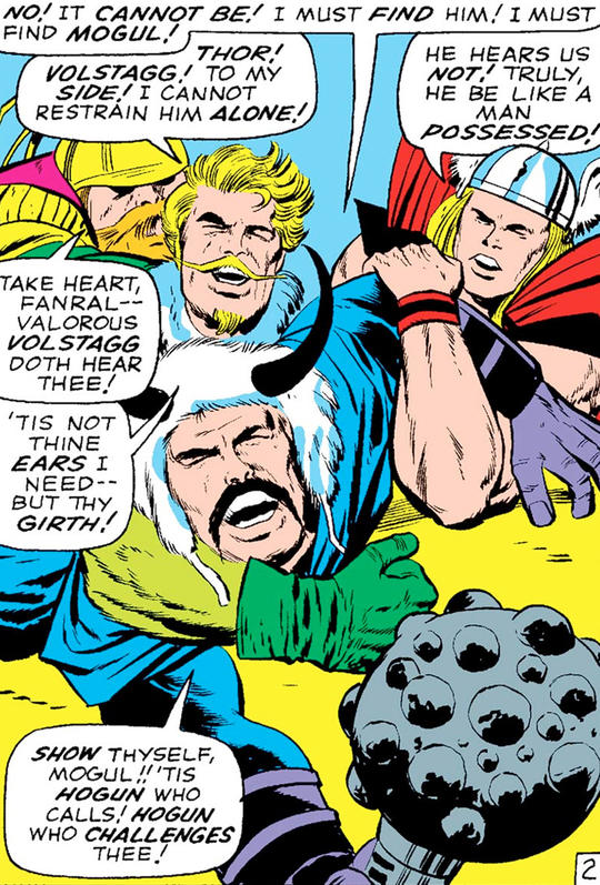 Fandral, Thor and Volstagg hold back Hogun