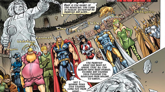 The Warriors Three with Thor, Sif, Balder, Amora and The Valkyries