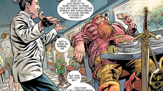 Volstagg eating in a diner