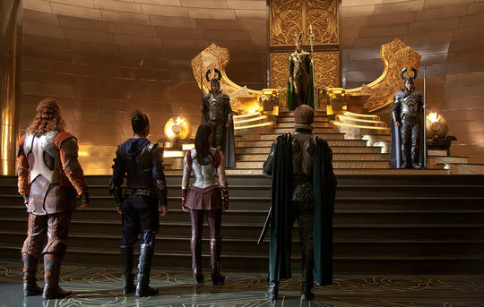 The Warriors Three and Sif approach Loki on the Throne