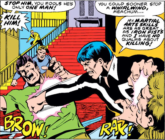 Steel Serpent uses his martial arts skills for evil.