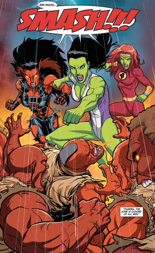 Three She-Hulks, fighting together