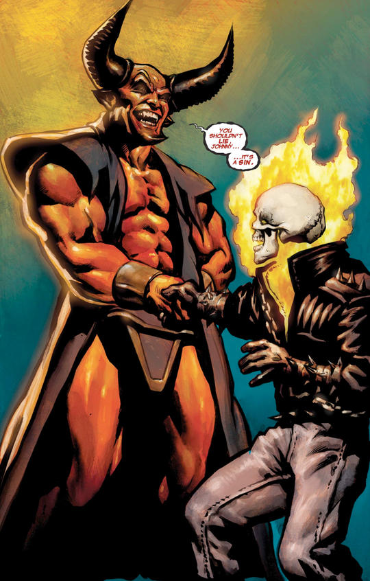 Ghost Rider shaking hands with the Devil