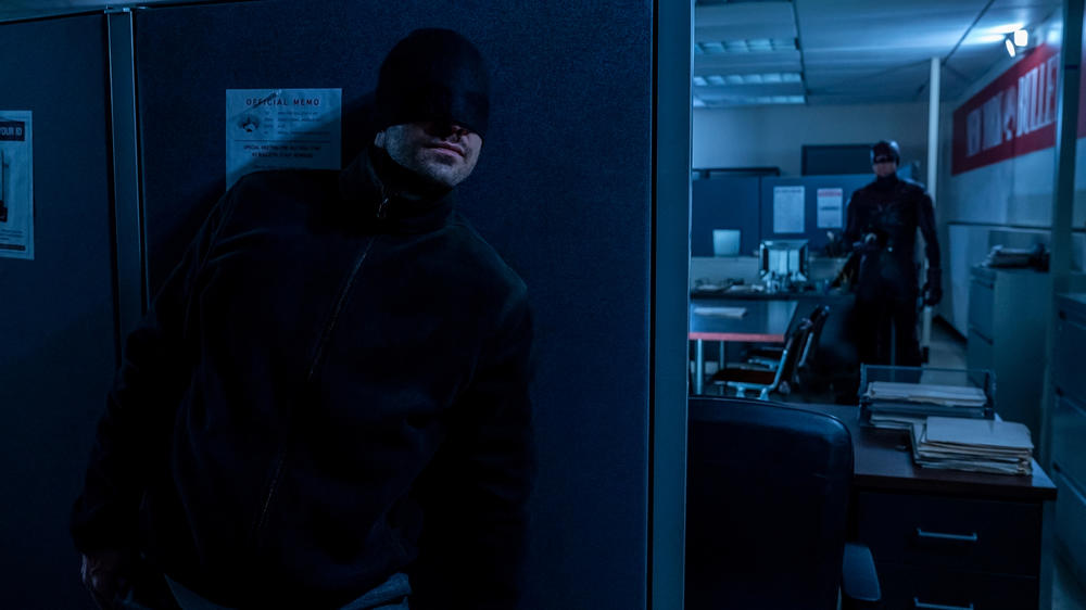 "Charlie Cox as Matt Murdock and Wilson Bethel as Benjamin ""Dex"" Poindexter in Marvel's Daredevil Season 3"