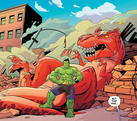 Devil Dinosaur and the totally awesome Hulk (Amadeus Cho)