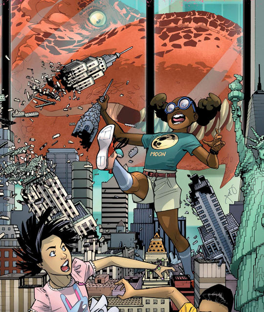 Moon Girl (Lunella Lafayette) and Devil Dinosaur switched consciousness