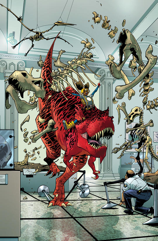 Devil Dinosaur running through museum