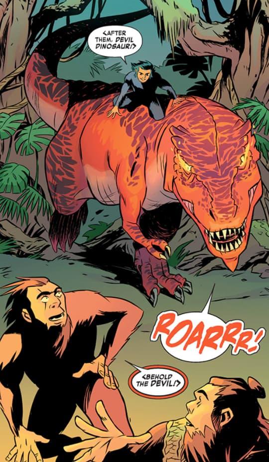 Devil Dinosaur emerging from forest