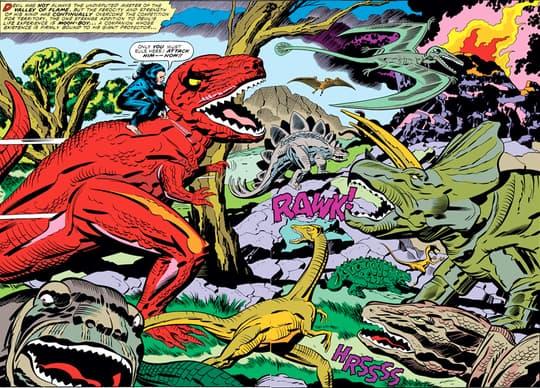 Devil Dinosaur among dinosaurs