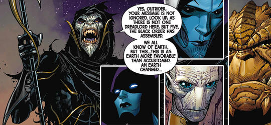 Corvus Glaive is the leader of an elite group of alien beings gathered together by Thanos called the Black Order.
