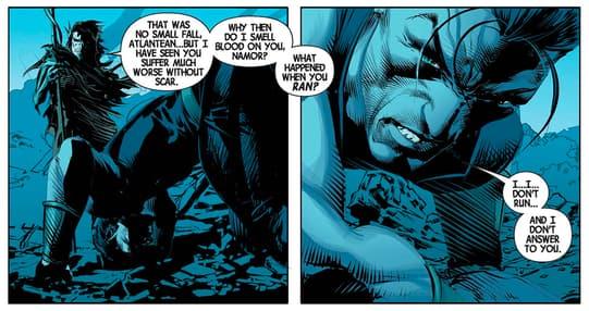 Corvus taunts Namor.