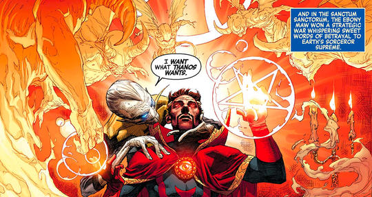 Ebony Maw invades Doctor Strange's mind.