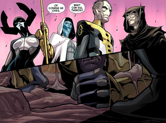 The Black Order surrounds Thanos as it is revealed that he is still alive.