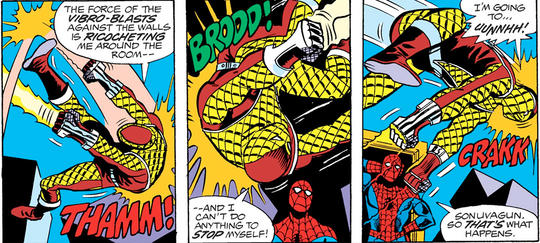 Shocker ricocheting around the room, Spider-Man stands surprised at himself