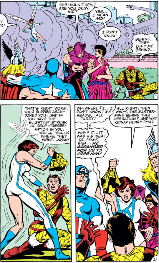 Shocker is caught and unmasked by the Avengers and reveals Dr. Pym's plans