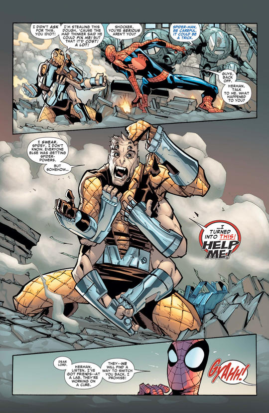 Shocker grows six arms while fighting Spider-Man and realizes that he's been infected with the spider-virus
