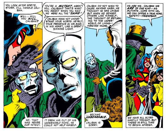 Caliban getting a second chance with Storm and Spider-Woman