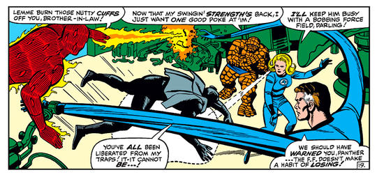 The Fantastic Four test their strength against the Black Panther