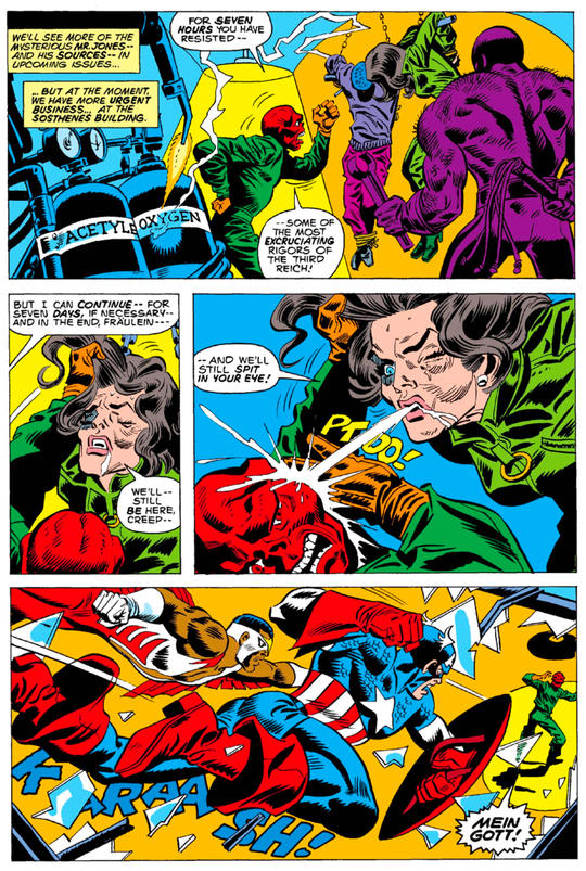 Peggy is tortured by the Red Skull before Cap and Falcon intervene.