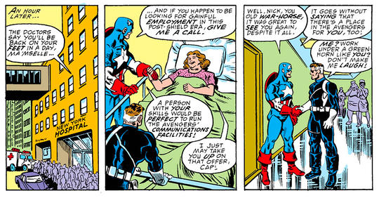 Captain American and Nick Fury visit Peggy in the hospital.