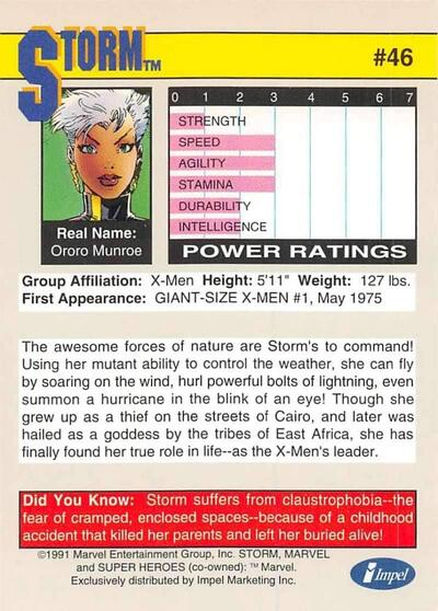 1991 Impel Marvel Universe Trading Card #46 Storm Official Marvel Character Card Back