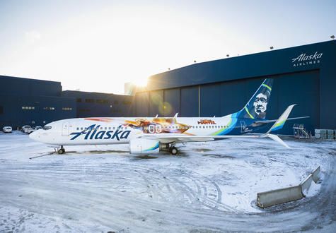 Captain Marvel - Alaska Airlines plane