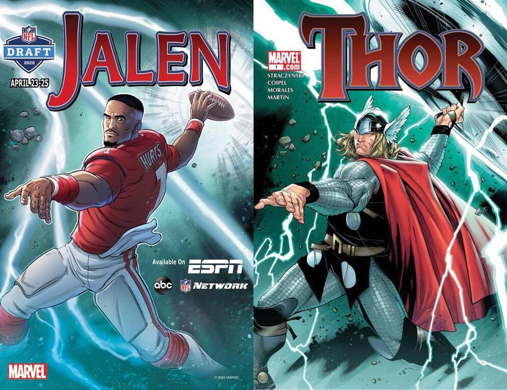 JALEN HURTS BY MARCIO FIORITO AND CARLOS LOPEZ, AFTER THOR (2007) #1 BY OLIVIER COIPEL