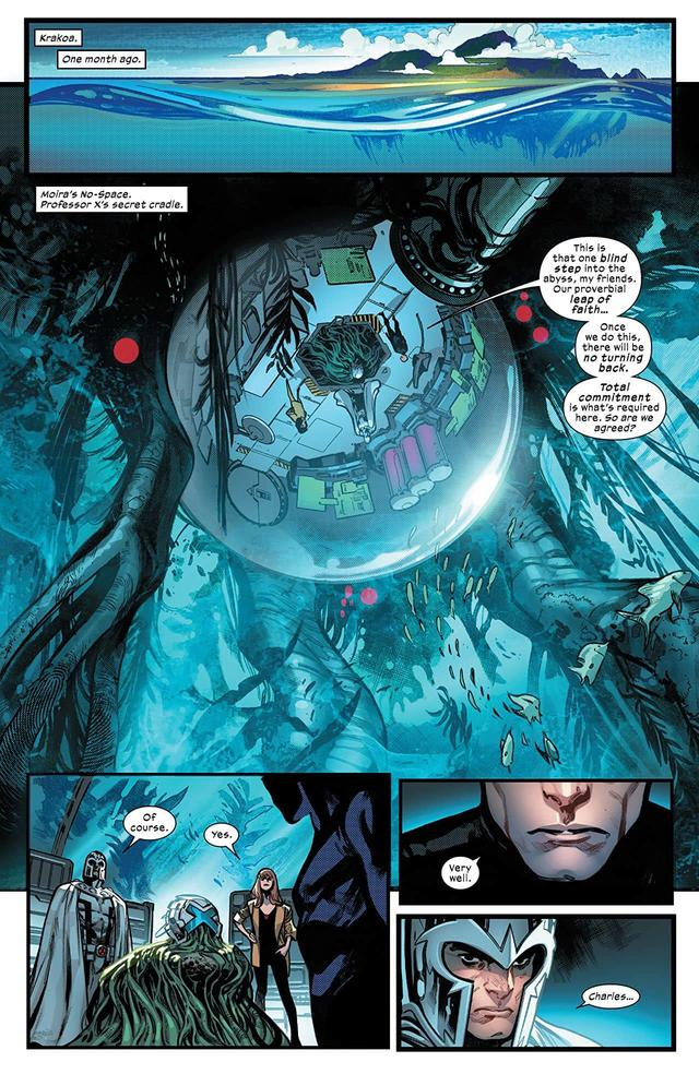 HOUSE OF X #6 page one by Pepe Larraz, Marte Gracia, David Curiel, and VC's Clayton Cowles